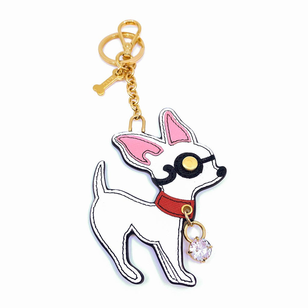 Prada Trick Pelle Saffiano Dog Bianco White Chihuahua Gold Keychain Key Ring 1TL301 at_Queen_Bee_of_Beverly_Hills