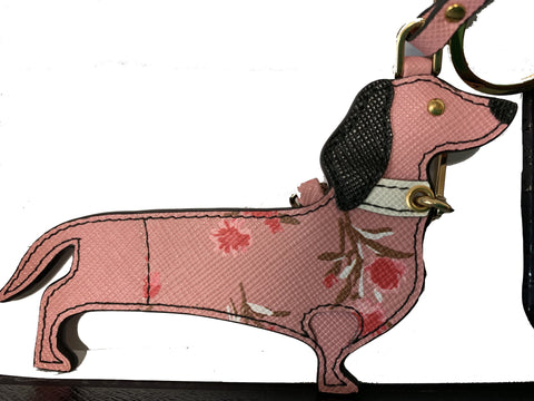 Prada Trick Pelle Saffiano Dog Petalo Pink Flowers Dachshund Leather Keychain 1TL304 at_Queen_Bee_of_Beverly_Hills