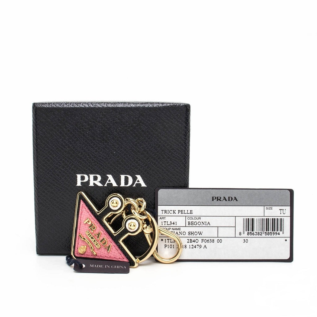 Prada Trick Pelle Saffiano Show Pink Begonia Leather Robot Triangle Keychain Charm 1TL341 at_Queen_Bee_of_Beverly_Hills