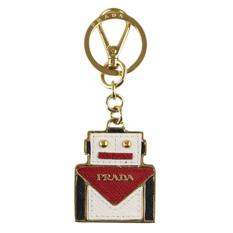 Prada Trick Pelle Saffiano Show Robot Red Keychain Charm 1TL301 at_Queen_Bee_of_Beverly_Hills