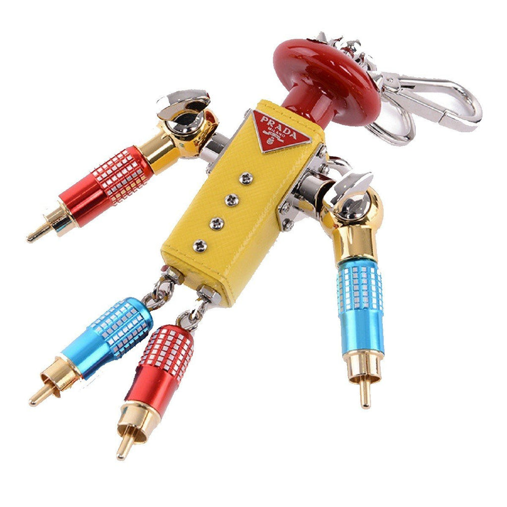 Prada Trick Robot GIGI Yellow Leather Keychain Charm 1TR029 at_Queen_Bee_of_Beverly_Hills