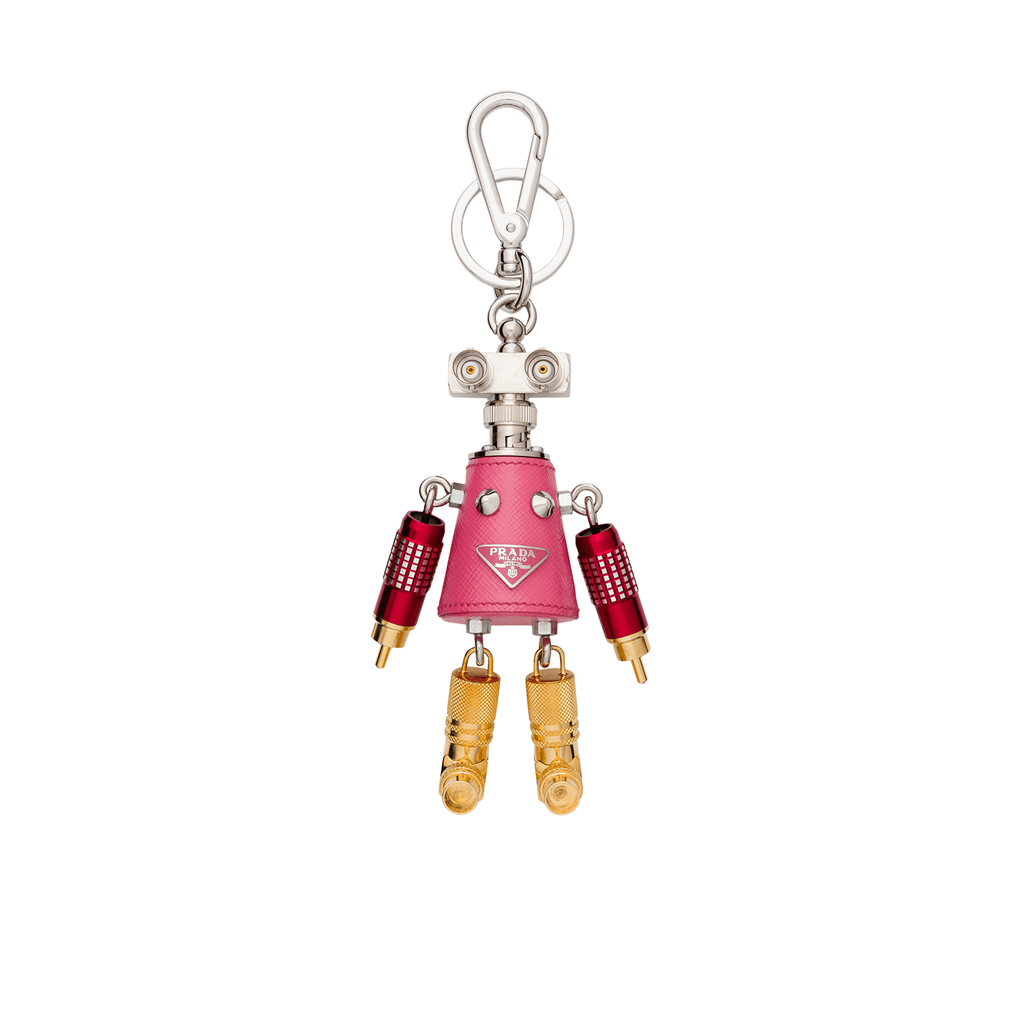 Prada Trick Robot Giulietta Pink Leather Keychain Charm 1TR029 at_Queen_Bee_of_Beverly_Hills