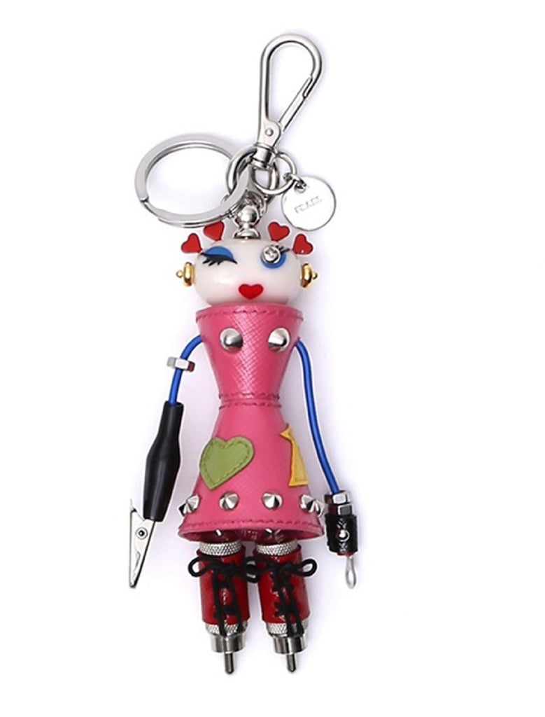 Prada Trick Robot in Pelle Begonia Pink Nana Textured Leather Embellished Keychain Keyring 1TR042 at_Queen_Bee_of_Beverly_Hills