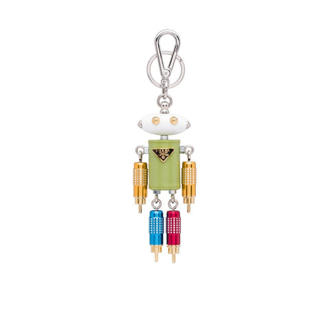 Prada Trick Robot Romeo Green Leather Keychain Charm 1TR030 at_Queen_Bee_of_Beverly_Hills
