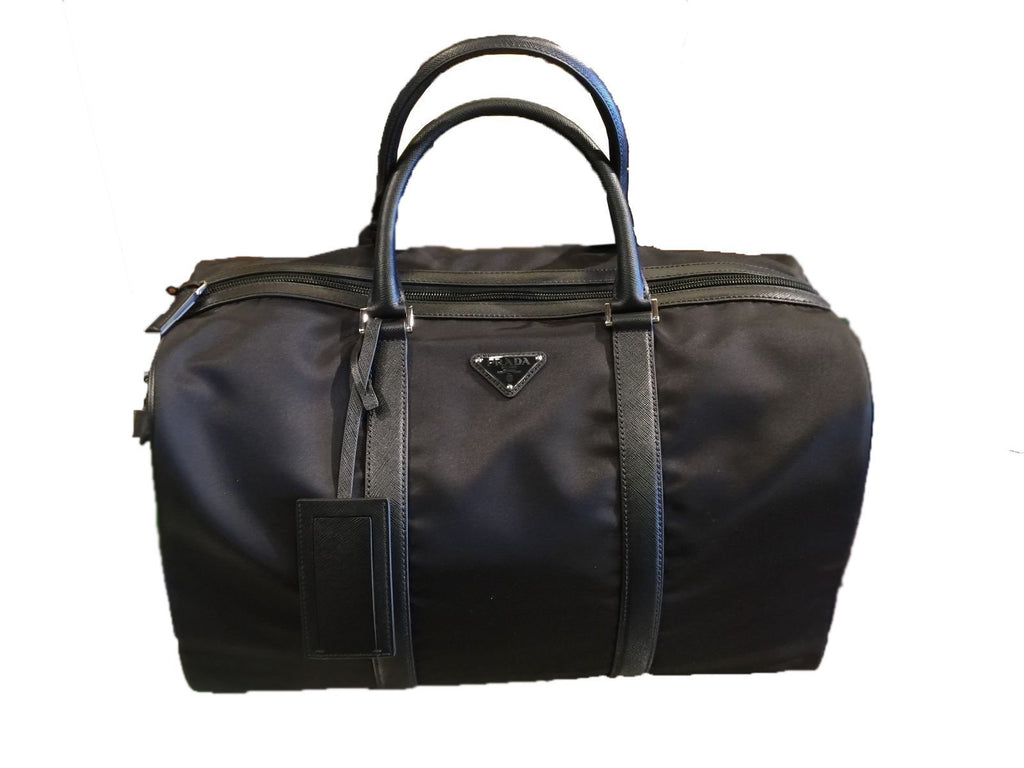 Prada Unisex Black Nylon Fabric Duffel Bag Tessuto Saffiano 2VC002 at_Queen_Bee_of_Beverly_Hills