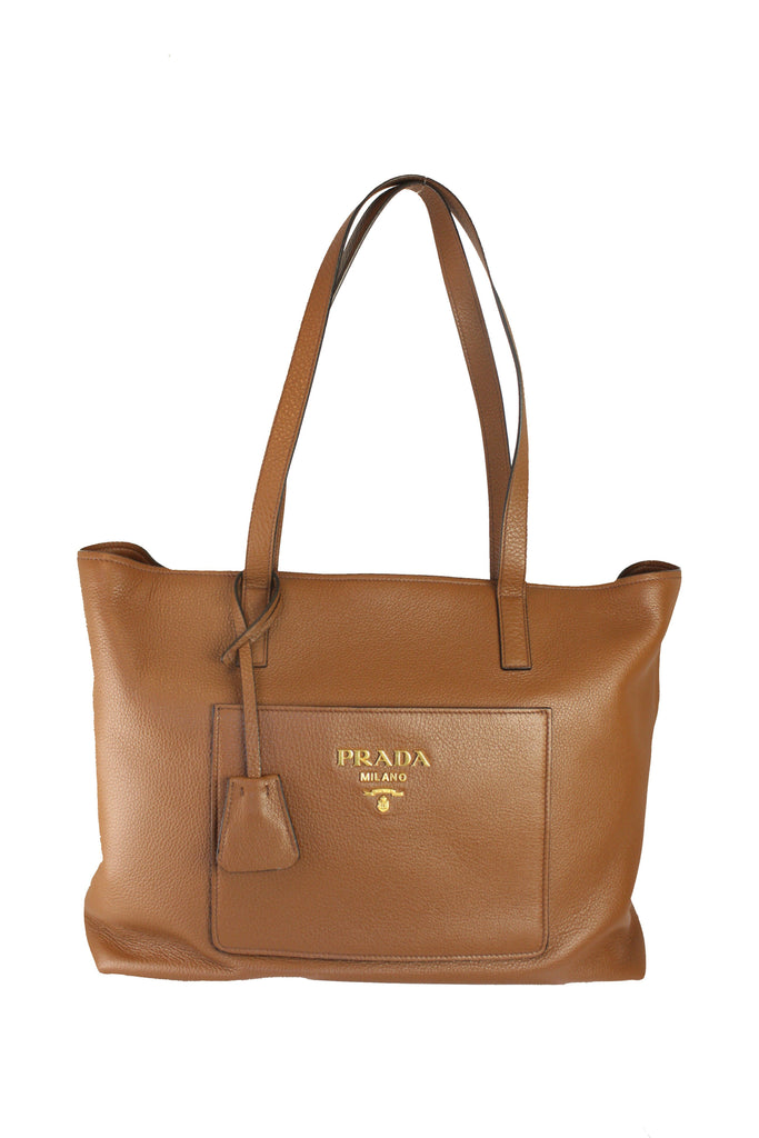 Prada Vitello Daino Brown Leather Shopping Tote 1BG215 at_Queen_Bee_of_Beverly_Hills