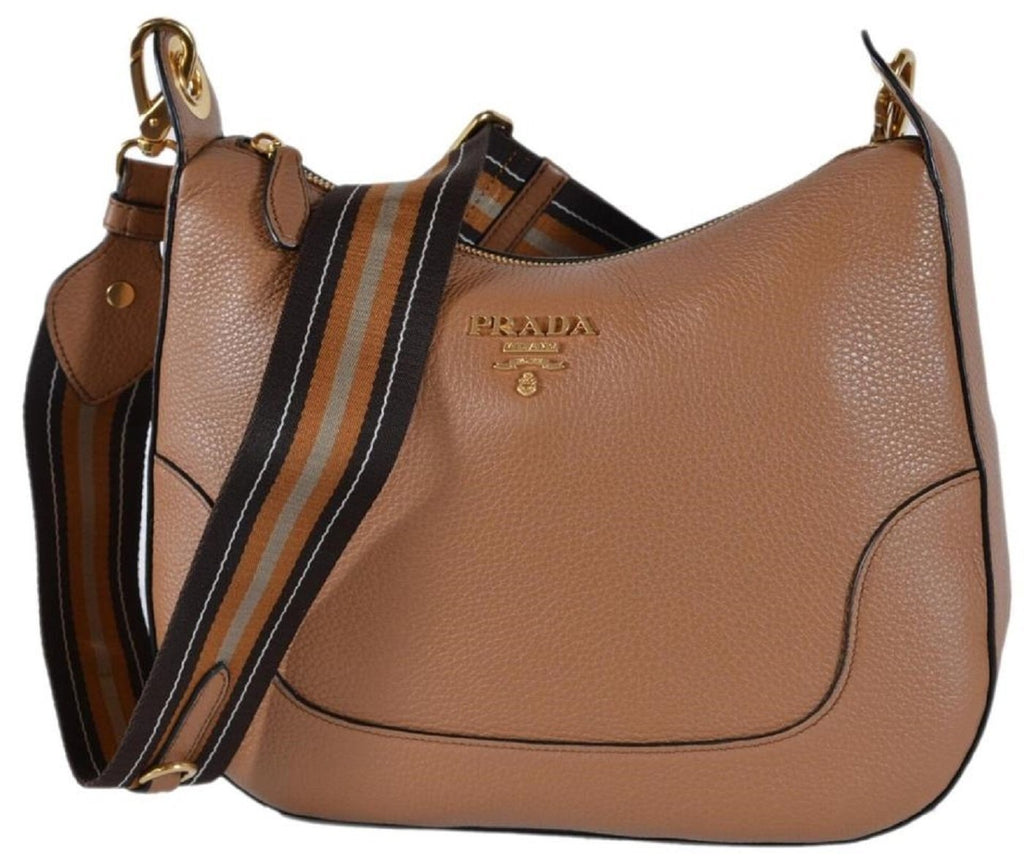 Prada Vitello Daino Light Brown Leather Cross Body Bag Nylon Web Striped Strap 1BC052 at_Queen_Bee_of_Beverly_Hills