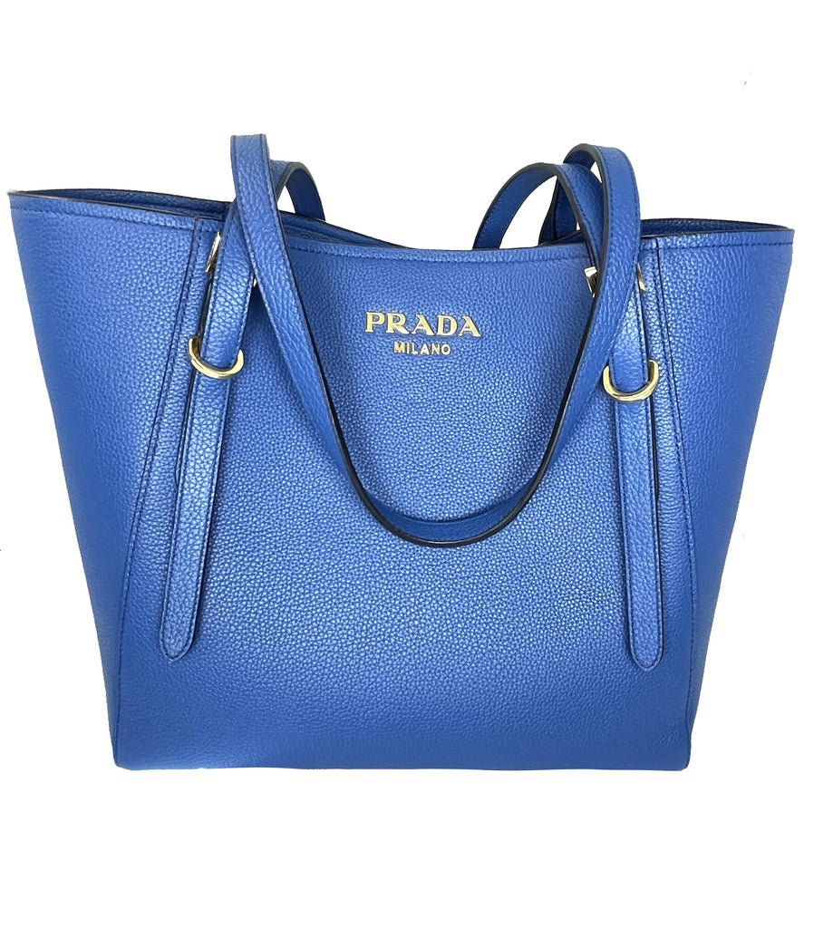 Prada Vitello Grain Leather Azzurro Blue Shoulder Bag Tote 1BG301 at_Queen_Bee_of_Beverly_Hills