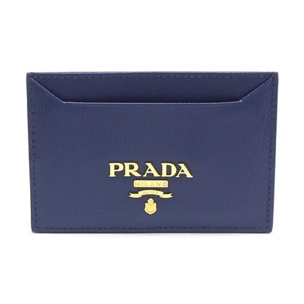 Prada Vitello Grain Leather Bluette Blue Gold Logo Card Holder 1MC208 at_Queen_Bee_of_Beverly_Hills