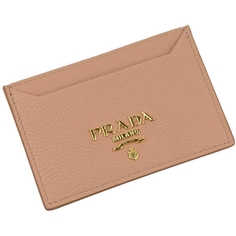 Prada Vitello Grain Leather Card Holder Cipria Beige Gold Logo 1MC208 at_Queen_Bee_of_Beverly_Hills