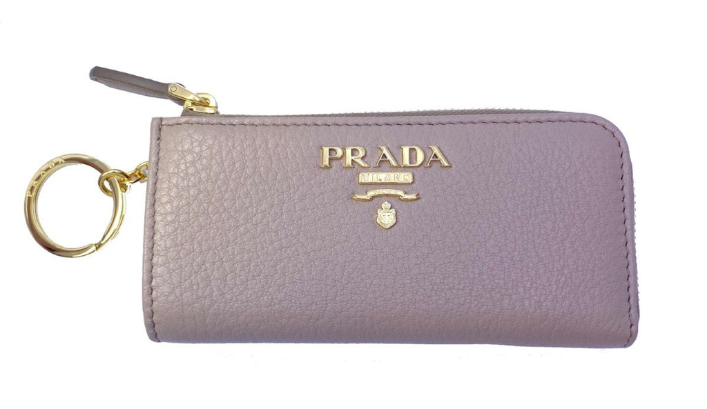 Prada Vitello Grain Leather Key Chain Wallet Cammeo Beige 1PP026 at_Queen_Bee_of_Beverly_Hills