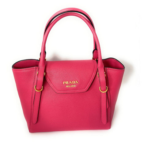 Prada Vitello Grain Magenta Pink Top Handle Crossbody Handbag 1BA270 at_Queen_Bee_of_Beverly_Hills
