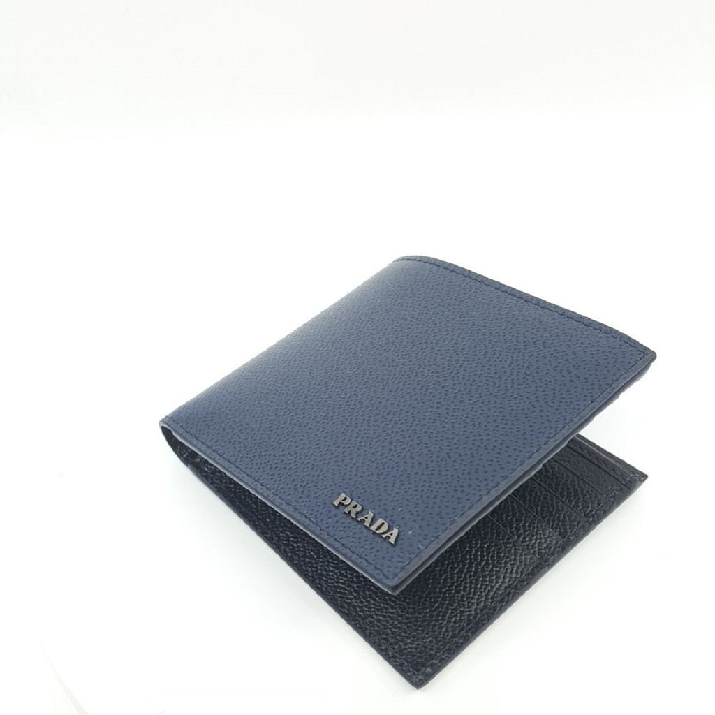 Prada Vitello Micro Grain Baltico Blue Nero Black Mens Wallet 2MO513 at_Queen_Bee_of_Beverly_Hills