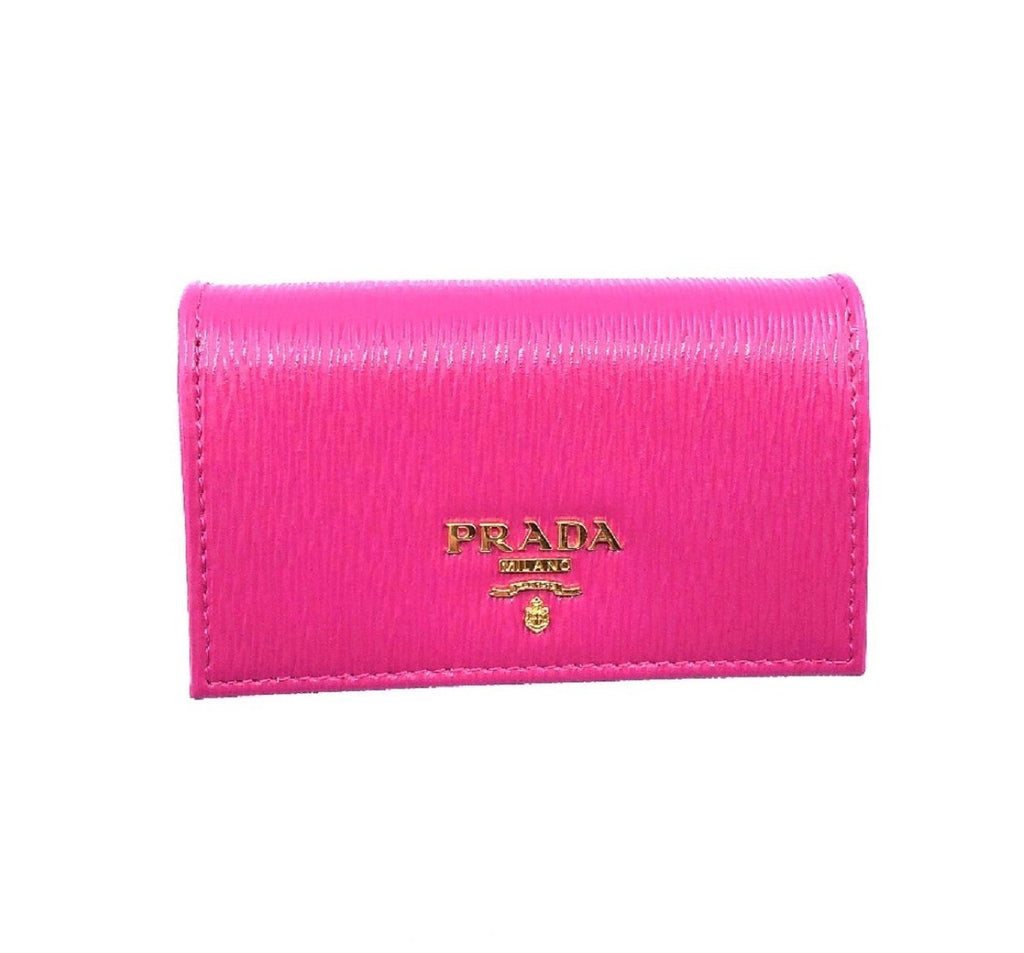 Prada Vitello Move Card Holder Fuchsia Pink Leather Pouch Wallet 1MC122 at_Queen_Bee_of_Beverly_Hills