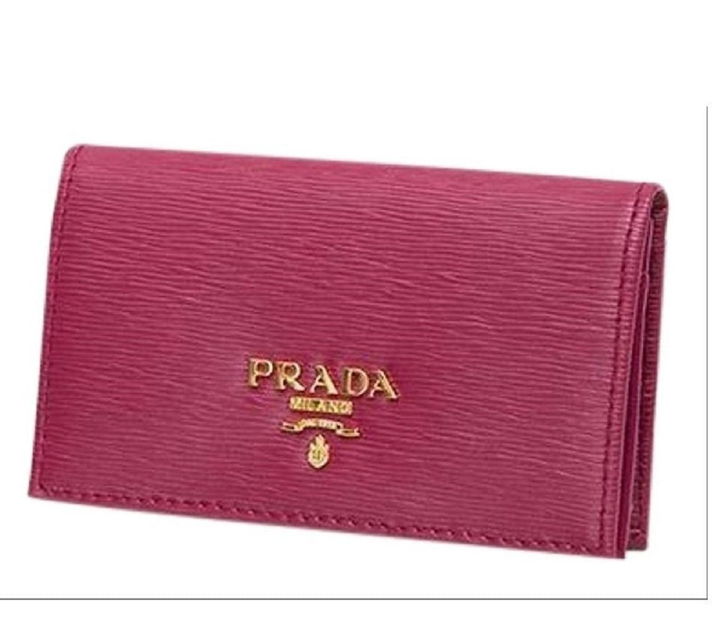 Prada Vitello Move Card Holder Ibisco Pink Leather Pouch Wallet 1MC122 at_Queen_Bee_of_Beverly_Hills