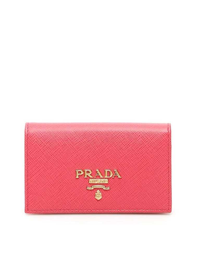 Prada Vitello Move Card Holder Peonia Pink Leather Pouch Wallet 1MC122 at_Queen_Bee_of_Beverly_Hills