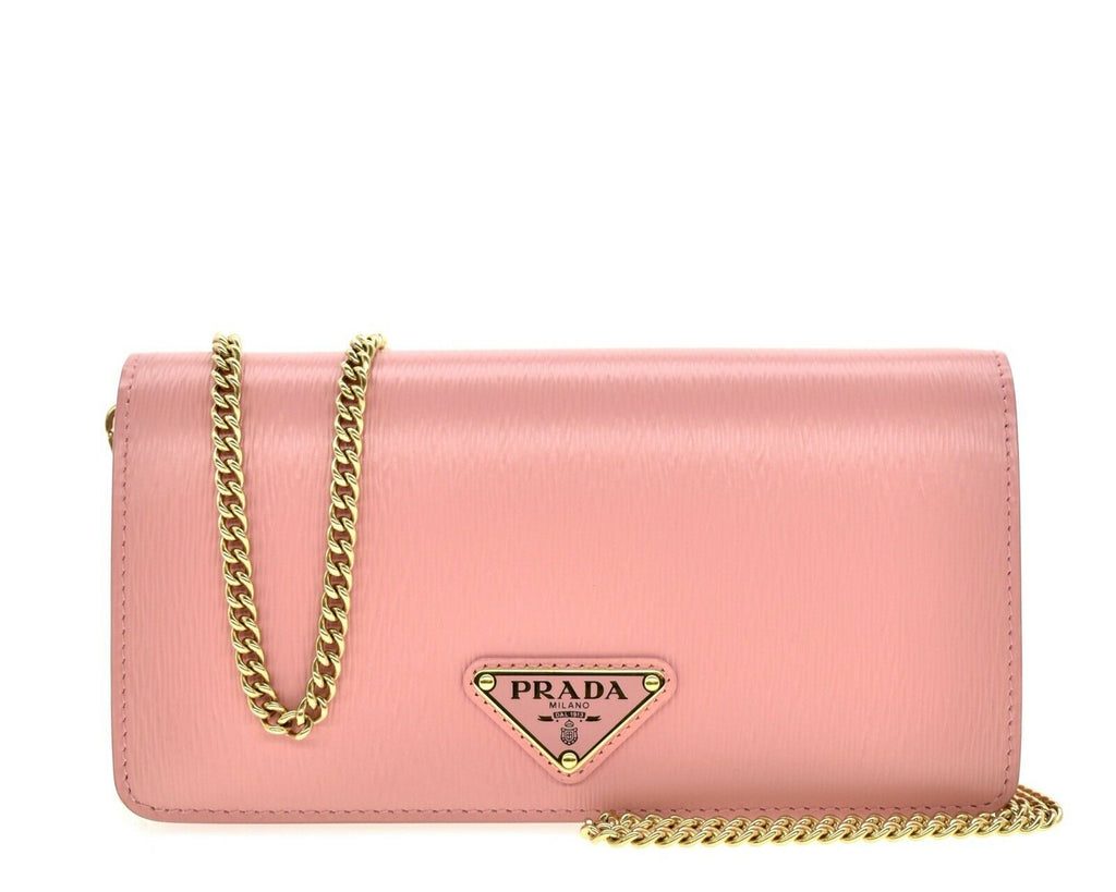 Prada Vitello Move Crossbody Chain Wallet Pink Petalo Leather 1BP021 at_Queen_Bee_of_Beverly_Hills