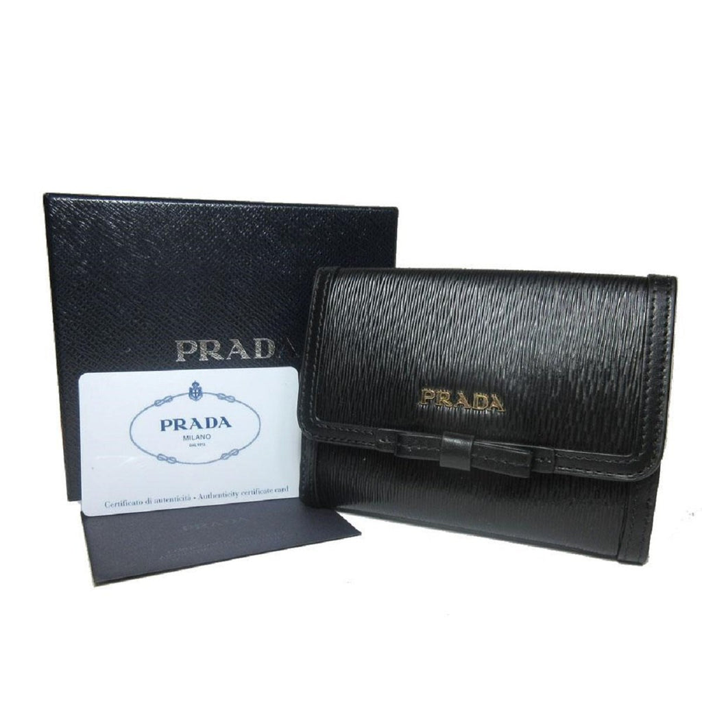 Prada Vitello Move Leather Black Coin Purse Bi-fold Bow Wallet 1MH523 at_Queen_Bee_of_Beverly_Hills