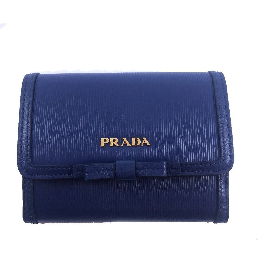 Prada Vitello Move Leather Bluette Blue Coin Purse Bi-fold Bow Wallet 1MH523 at_Queen_Bee_of_Beverly_Hills