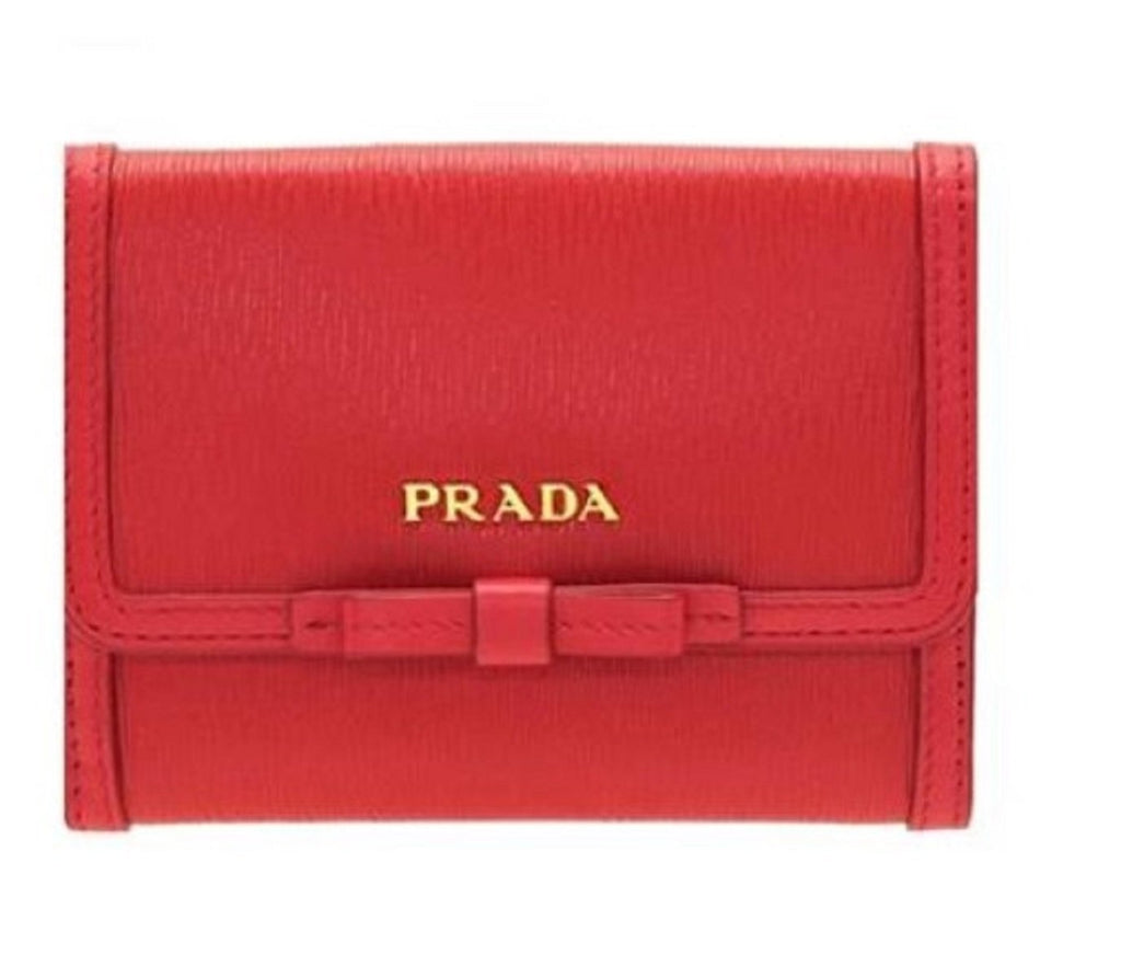 Prada Vitello Move Leather Geranio Red Coin Purse Bi-fold Bow Wallet 1MH523 at_Queen_Bee_of_Beverly_Hills