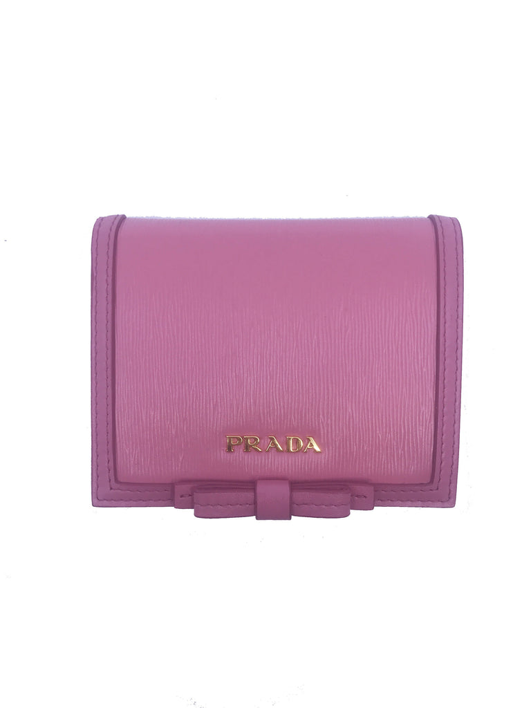 Prada Vitello Move Leather Pink Bifold Bow Coin Purse Wallet 1MV204 at_Queen_Bee_of_Beverly_Hills