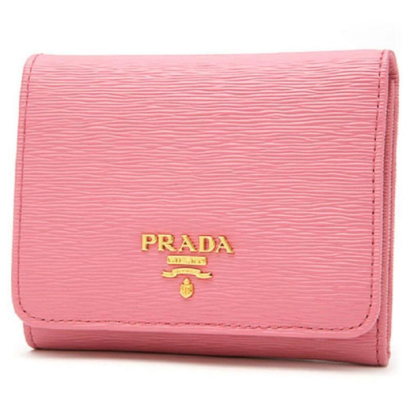 Prada Vitello Move Leather Pink Small Trifold Wallet, Women's 1MH176 at_Queen_Bee_of_Beverly_Hills