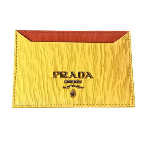Prada Vitello Move Yellow Orange Leather Card Holder Wallet 1MC208 at_Queen_Bee_of_Beverly_Hills