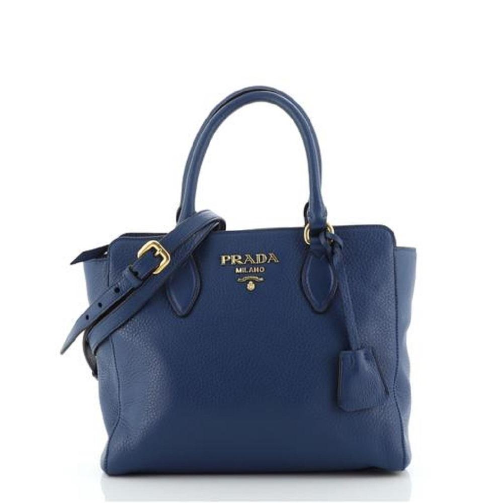 Prada Vitello Phenix Bluette Blue Small Crossbody Satchel Handbag 1BA205 at_Queen_Bee_of_Beverly_Hills