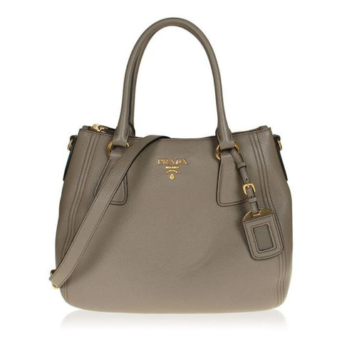 Prada Vitello Phenix Leather Convertible Zip Bag Argilla Grey 1BC032 at_Queen_Bee_of_Beverly_Hills