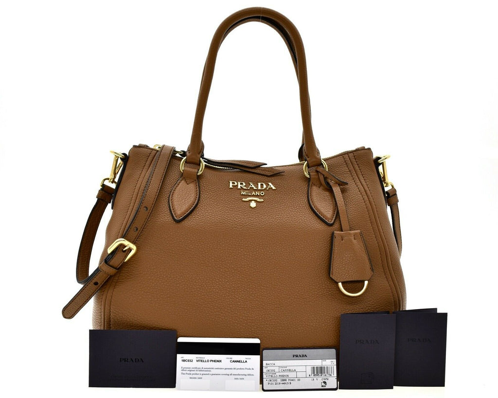 Prada Vitello Phenix Leather Convertible Zip Bag Cannella Brown 1BC032 at_Queen_Bee_of_Beverly_Hills