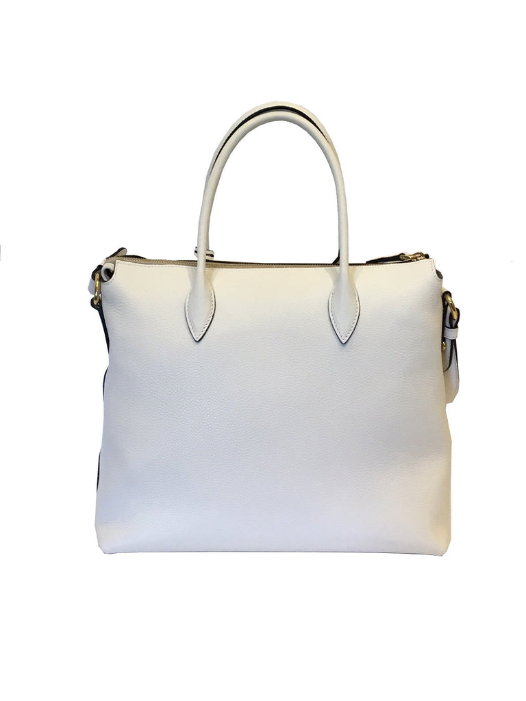 Prada Vitello Phenix Talco White Leather Tote Bag 1BA063 at_Queen_Bee_of_Beverly_Hills