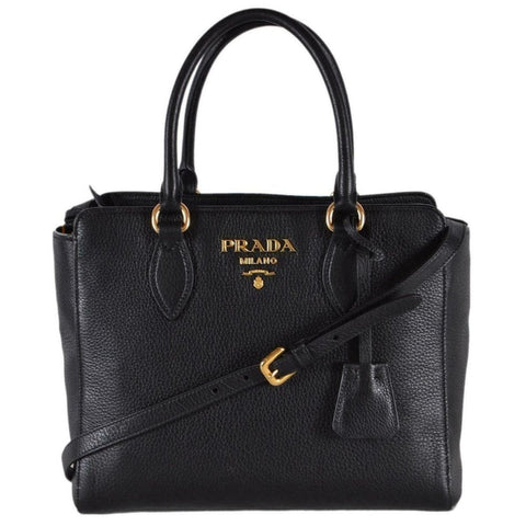 Prada Vitello Phenix Tote Handbag Black Leather 1BA205 at_Queen_Bee_of_Beverly_Hills