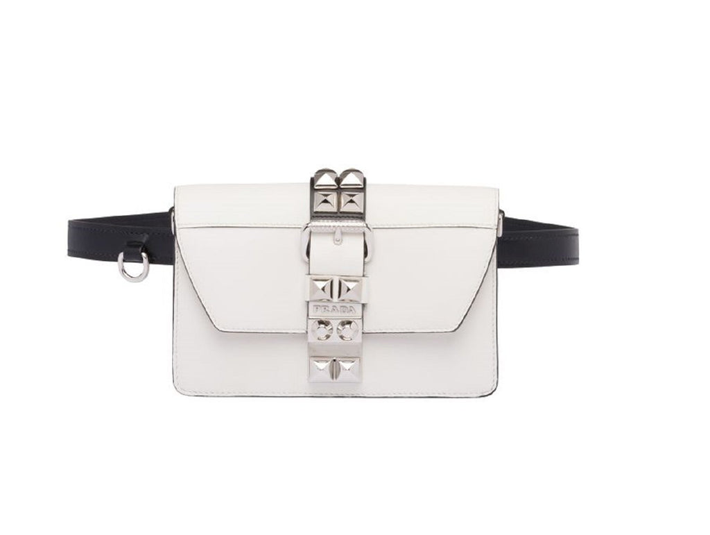 Prada White and Black Calfskin and Saffiano Leather Silver Stud Belt Bag 1BL020 at_Queen_Bee_of_Beverly_Hills