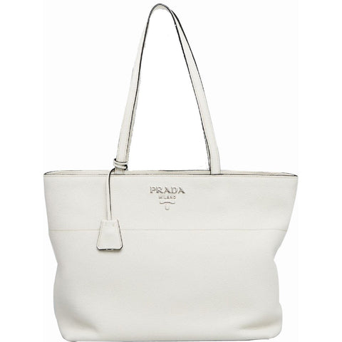 Prada White Bianco Vitello Phenix Pebbled Leather Shopping Tote Bag 1BG203 at_Queen_Bee_of_Beverly_Hills