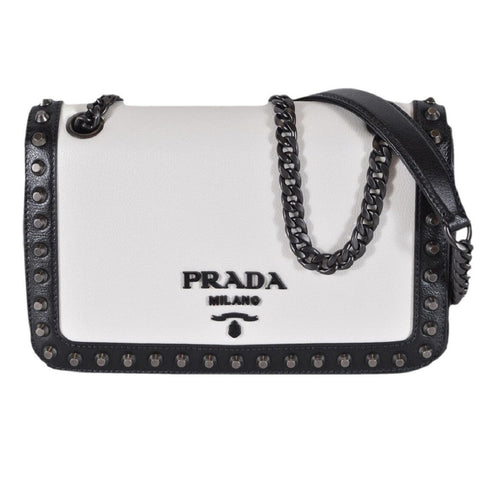 Prada White Black Glace Leather Studded Trim Crossbody Handbag 1BD147 at_Queen_Bee_of_Beverly_Hills