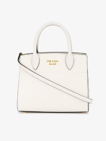 Prada White Calf Skin Leather Mini Bibliotheque Crossbody Luxury Handbag 1BA071 at_Queen_Bee_of_Beverly_Hills