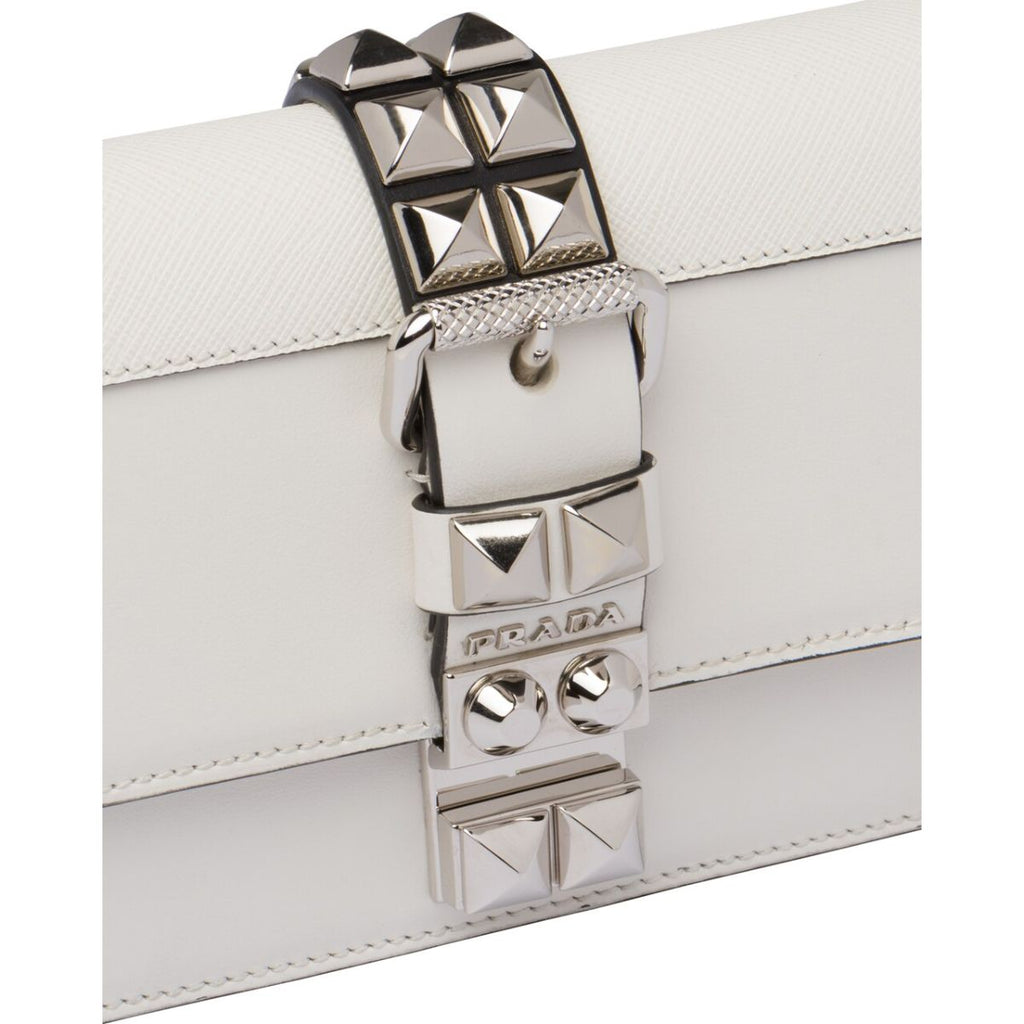 Prada White Elektra City Saffiano Calf Skin Cross Body Chain Clutch 1BF084 at_Queen_Bee_of_Beverly_Hills