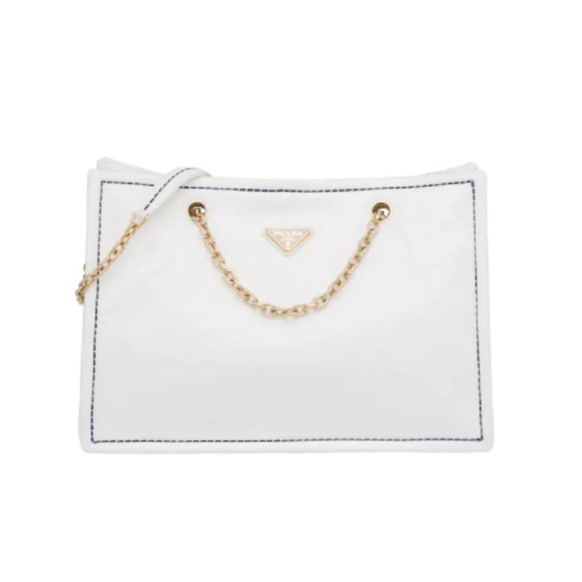 Prada White Nylon Gold Chain Convertible Crossbody Shopping Tote at_Queen_Bee_of_Beverly_Hills