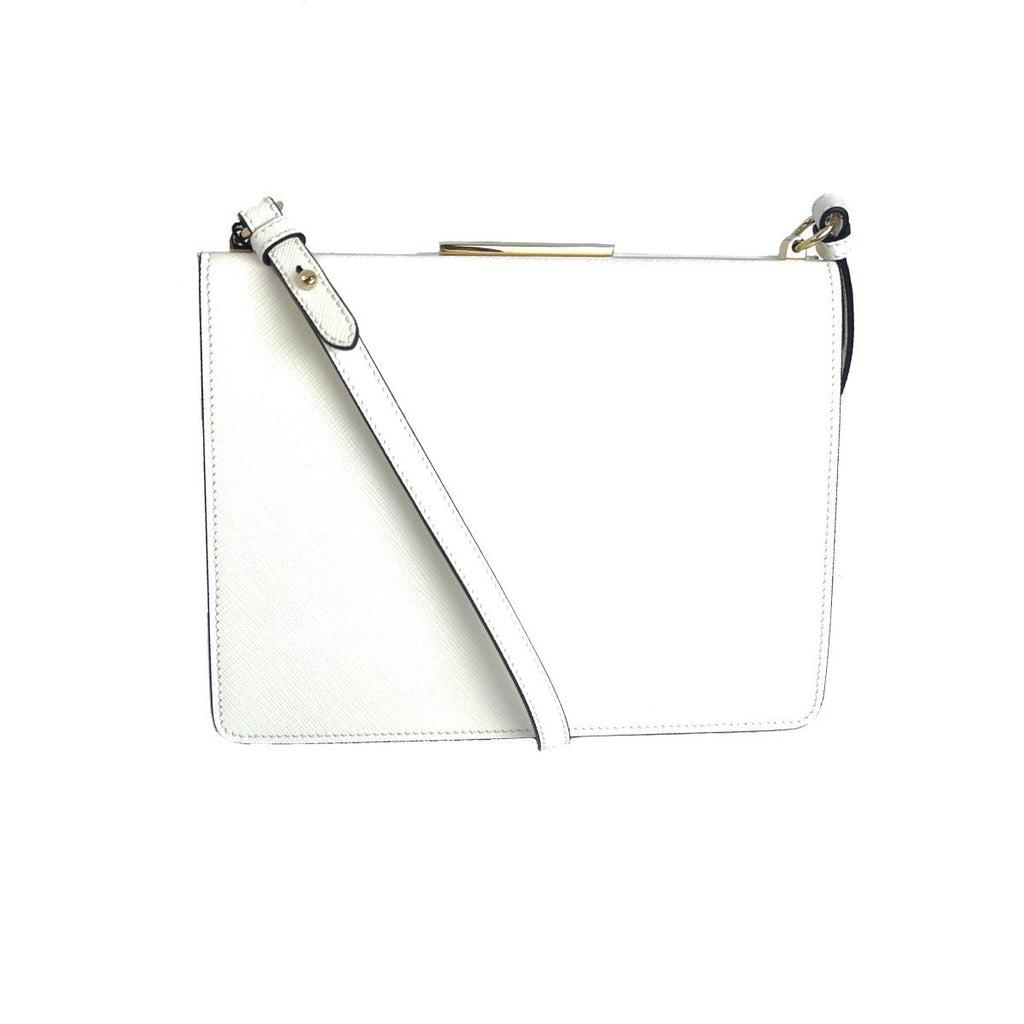Prada White Saffiano Clasp Closure Frame Crossbody 1BK046 at_Queen_Bee_of_Beverly_Hills