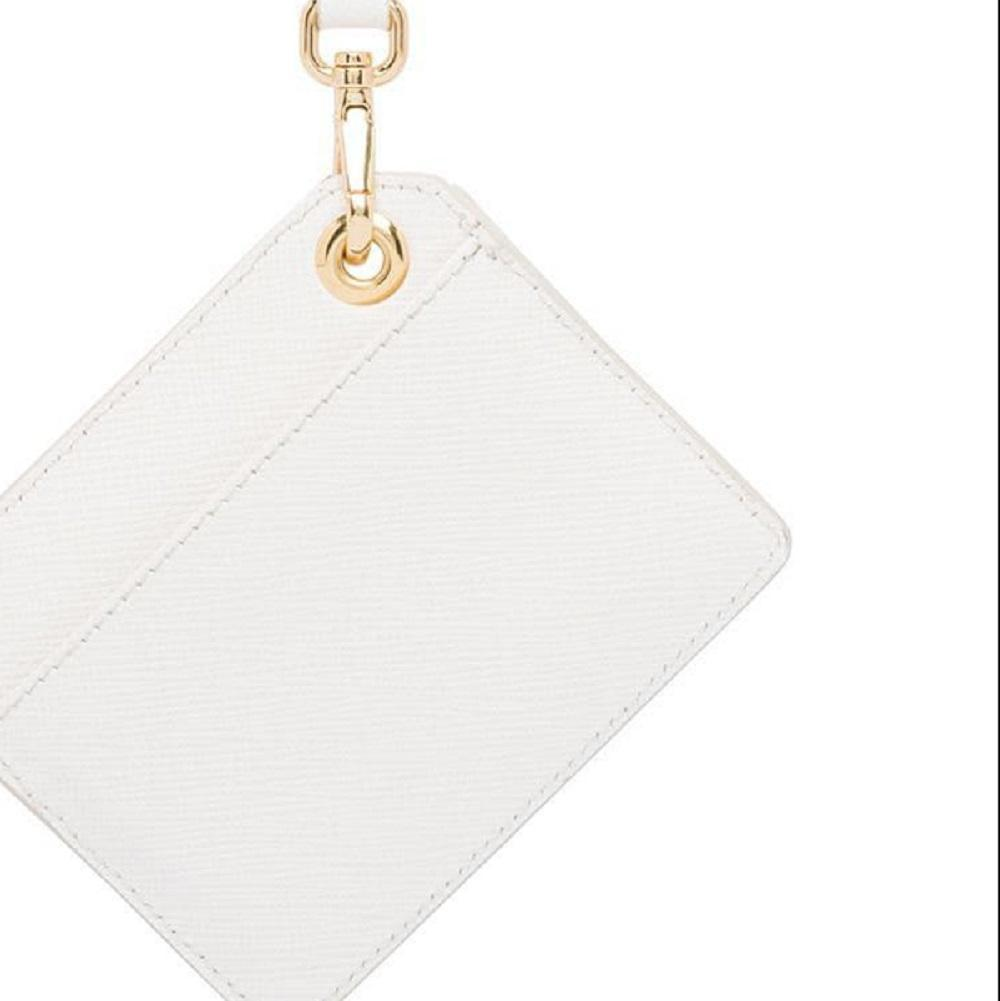 Prada White Saffiano Leather Envelope Mirror Card Holder Keychain Charm at_Queen_Bee_of_Beverly_Hills