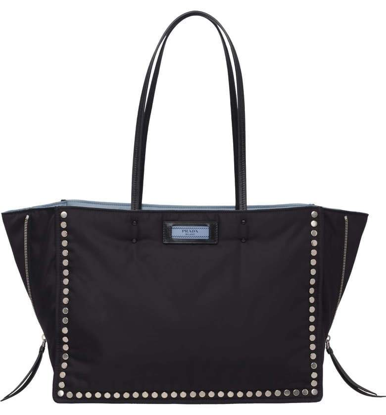 Prada Women's Astrale Black Tessuto Studded Etiquette Tote Bag 1BG118 at_Queen_Bee_of_Beverly_Hills
