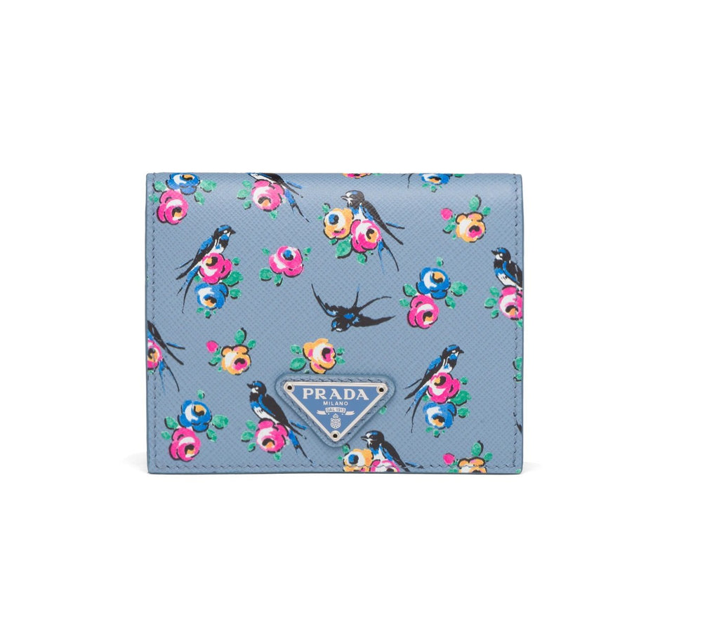 Prada Women's Astrale Blue Saffiano Leather Swallow Print Snap Bifold Wallet 1MV204 at_Queen_Bee_of_Beverly_Hills