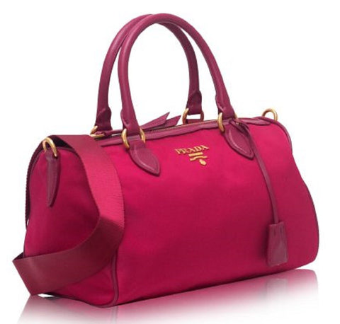 Prada Women's Bauletto Baguettes Nylon and Leather Pink(Ibisco) Handbag with Removable Strap 1BB797 at_Queen_Bee_of_Beverly_Hills