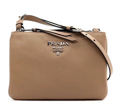 Prada Women's Beige Cammeo Vitello Phenix Leather Cross Body Handbag 1BH046 at_Queen_Bee_of_Beverly_Hills