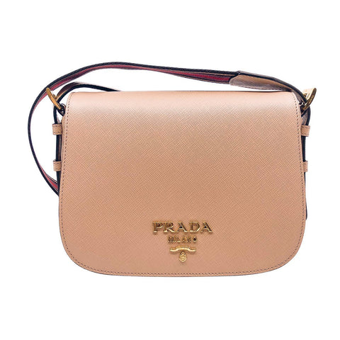 Prada Women's Beige Saffiano Leather Shoulder Bag 1bd192 at_Queen_Bee_of_Beverly_Hills
