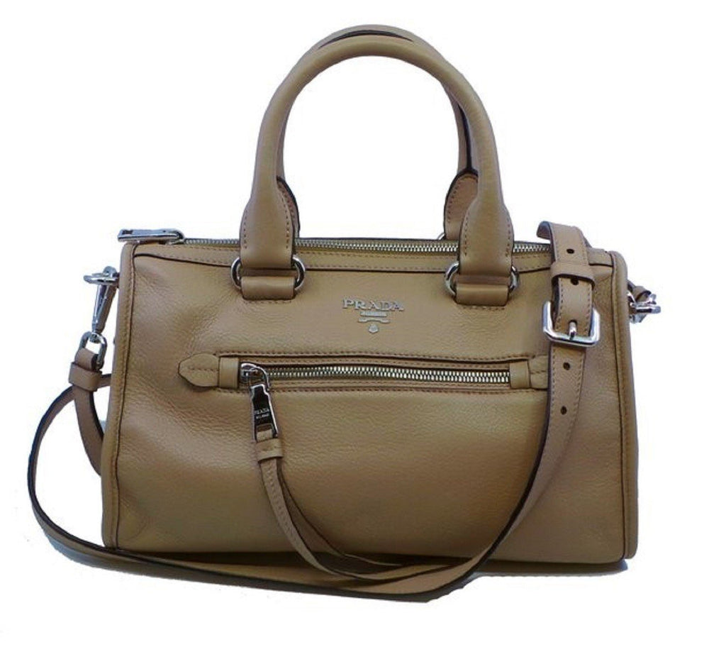 Prada Women's Beige Tan Cammeo Bauletto Vitello Phenix Leather Tote Satchel Handbag 1BB022 at_Queen_Bee_of_Beverly_Hills