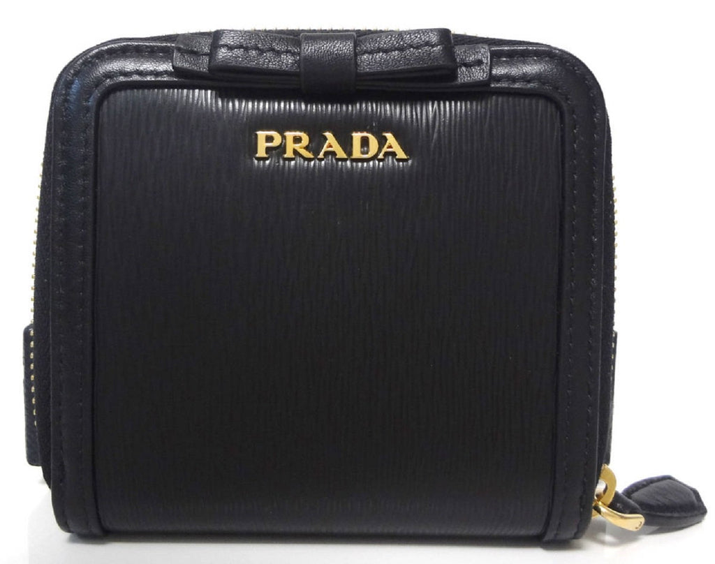 Prada Women's Black Nero Vitello Move Zip Flap Bow Wallet 1ML522 at_Queen_Bee_of_Beverly_Hills