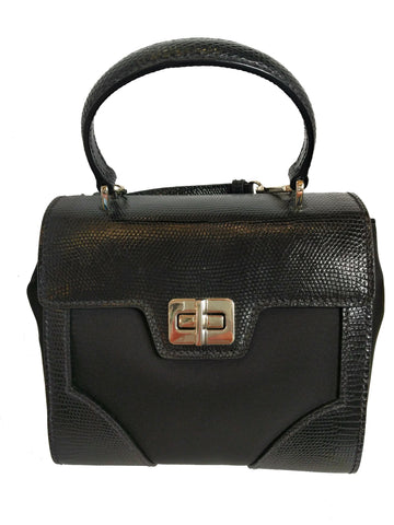 Prada Women's Black Tessuto Lucerto Nylon/Reptile Leather Handbag 1BA014 at_Queen_Bee_of_Beverly_Hills