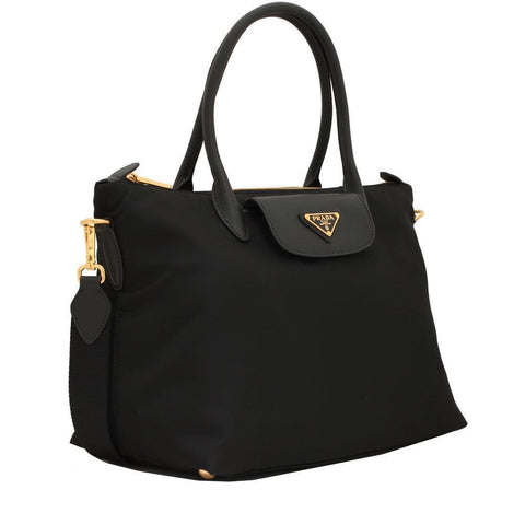 Prada Women's Black Tessuto Nylon/ Saffiano Leather Shopping Tote Bag 1BA106 at_Queen_Bee_of_Beverly_Hills