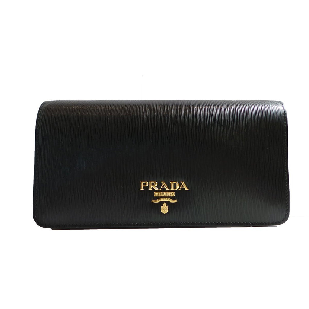 Prada Women's Black Vitello Move Flap Wallet 1DH044 at_Queen_Bee_of_Beverly_Hills